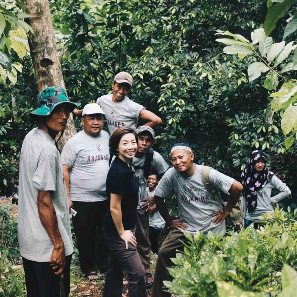 Founder Sabrina Mustopo with the Krakakoa farmers